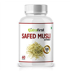 Nutrafirst Safed Musli Extract Capsules 100% Natural and Organic – 60 Capsules